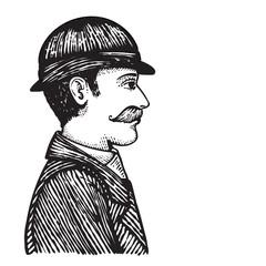 Retro man in coat and hat