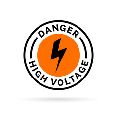 Danger high voltage sign. Electrical hazard icon badge. Caution electric shock symbol. Black electric bolt icon on orange circle background. Vector illustration.