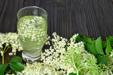Glass of elder flower juice