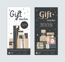 Set of gift certificate with a modern style with kraft boxes. Hipster type certificate for my birthday. Gift box for the holiday. Premium flyer for cosmetics, dress, a spa as a gift.