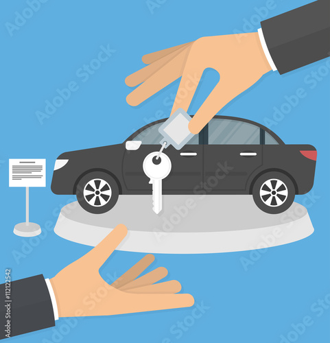 Dealership Agent Giving Car Key To A Customer With A Car In The
