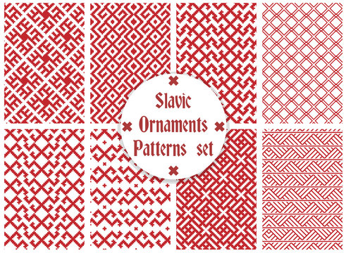 slavic ornaments patterns set