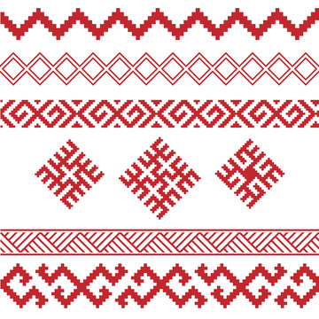 slavic ornamental elements set