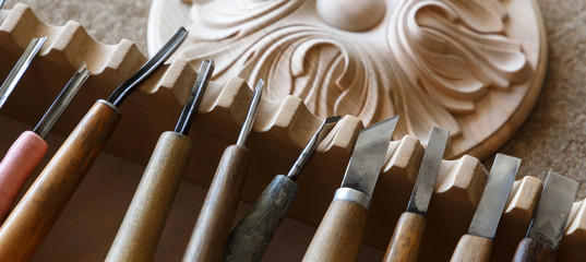 Wood processing. Joinery work. wood carving. chisels for carving