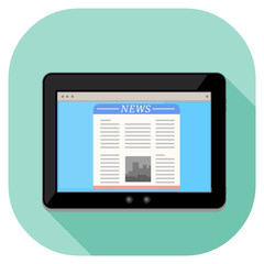 Vector illustration of a modern tablet. Tablet pc computer internet icon displaying news page website.