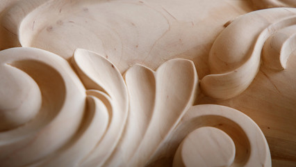 Wood processing. Joinery work. wood carving. the carving object Wall mural