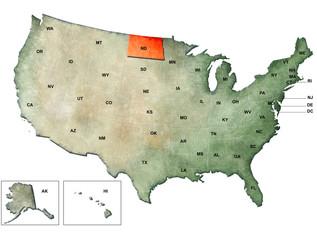 Illustrazione degli Stati Uniti d'America con focus su North Dakota