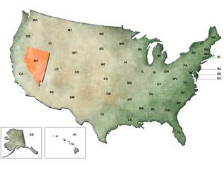 Illustrazione degli Stati Uniti d'America con focus su Nevada