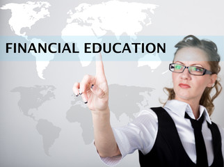 financial education written in search bar on virtual screen. Internet technologies in business and home. woman in business suit and tie, presses a finger on a virtual screen