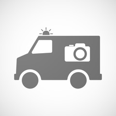 Isolated ambulance icon with a photo camera