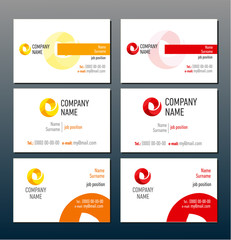 Corporate identity red and orange business cards template