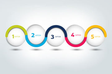 Infographic vector option banner with 5 steps. Color spheres, balls, bubbles. Infographic template.