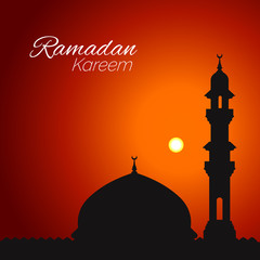 Ramadan Kareem graphic greeting background in Arabic style