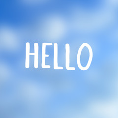 Hello lettering print on smooth sky background