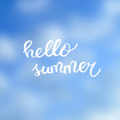 Hello summer text on smooth sky background