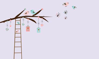 Rama con pájaros y escalera,
