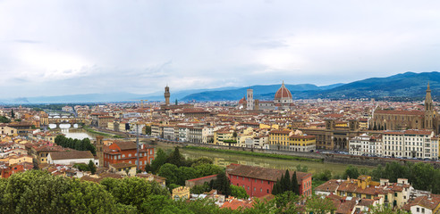 Panoramic view of Florence city from Piazzale Michelangelo, Tuscany, Italy