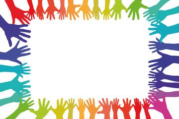 Bunte Hände bilden Rahmen als Hintergund