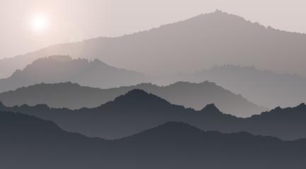 Wonderful sunrise mountain landscape the summer in the fog