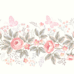 seamless floral border with roses and butterflies on white background