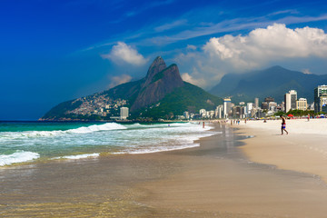 Ipanema and Leblon beach and mountain Dois Irmao (Two Brother) in Rio de Janeiro, Brazil