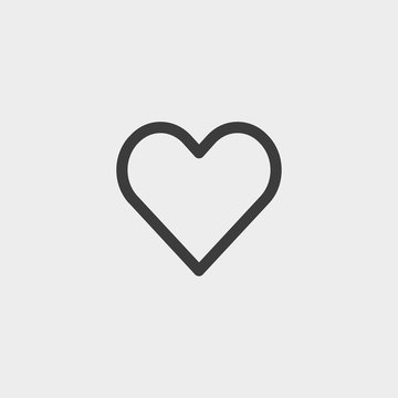 Heart icon in a flat design in black color. Vector illustration eps10