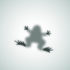 Diffuse Toad Silhouette Shadow Abstract Vector Image. Frog Sitting on a Matte Glass.
