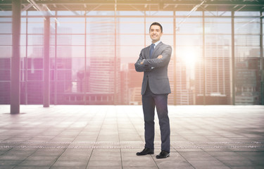 Garden Poster Fantasy Landscape smiling businessman over empty hall and city