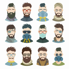 Flat icons collection of various post-apocalypse men. Modern design vector illustration set. Isolated on white background.