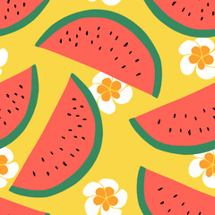 Watermelon seamless pattern, Summer textile design with fruit and flowers. Hand drawn design. Vector illustration background.