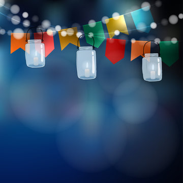 Brazilian june party. Festa junina. String of lights, party flags. Jar lanterns. Summer garden party. Blurred vector background