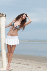 Sexy model posing by the sea , holding an old hut column