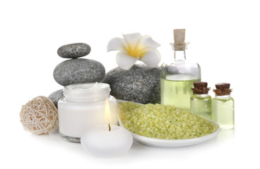 Spa treatment with stones and sea salt, isolated on white