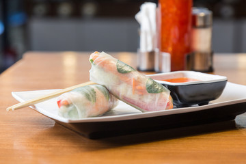 Asian spring rolls with vegetables