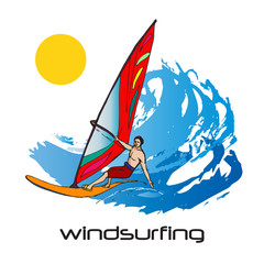 Colorful picture of windsurfing man and big waves