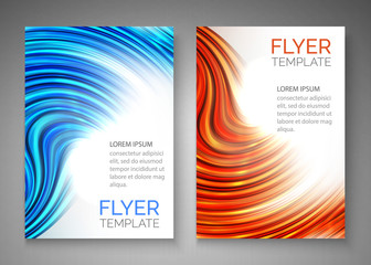 Abstract blue wave design for flyer, cover, poster, banner. Colorful abstract template. Vector illustration.
