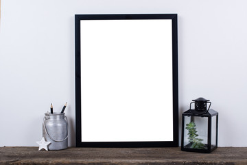 Scandinavian style empty photo frame mock up. Minimal home decor