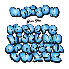 Cartoon alphabet in the style of comics.graffiti