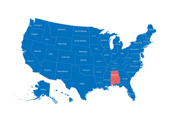 Map of the USA. Image with clipping path and name of states. State mark. Alabama. Vector illustration.