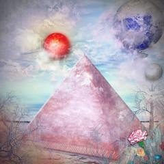 Photo sur Plexiglas Imagination Oasis in the desert with pyramid