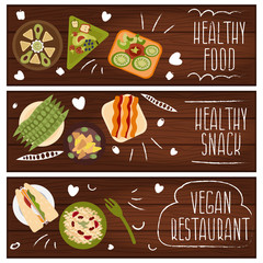 Set of banners for theme healthy food,vegetarians food .Vector i