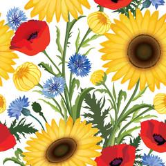 Floral seamless pattern. Flower poppy, sunflower, cornflower wea