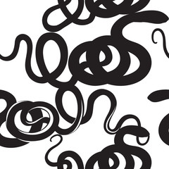 Animal snake pattern Ornamental spiral seamless silhouette background