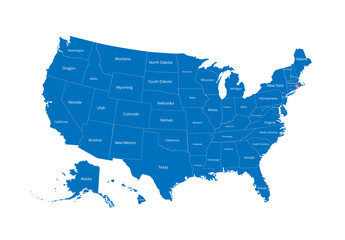 Map of the USA. Image with clipping path and name of states. State mark. Rhode Island. Vector illustration.