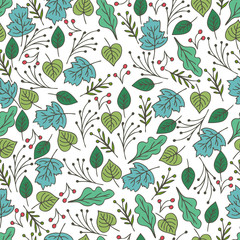 Hand drawn floral seamless pattern with flowers and leaves. Summ