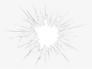 Broken glass, white background. Vector illustration