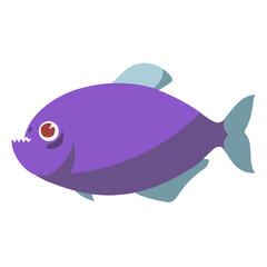 piranha fish flat vector