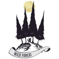 Logo wild forest with fox