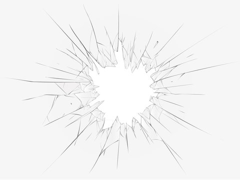 Broken glass, white background. Vector illustration