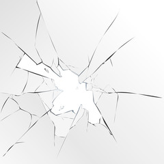 Broken glass on a white background, vector